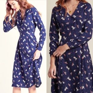"ModCloth ""Jessy B"" Navy Bird Chelsea Collar Dress"